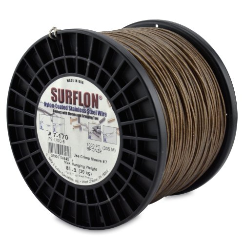Surflon Size 7-170 - 85-Pound Break 1000-Feet Crimping Picture Wire Nylon Coated Stainless Steel, Bronze by Wire & Cable Specialties