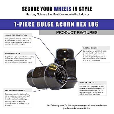 Dual Coating 20 Black 12x1.5 Closed End Bulge Acorn Lug Nuts - Cone Seat - 19mm Hex Wheel Lug Nut: Automotive