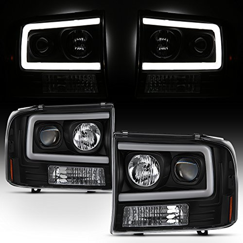 For 99-04 Ford F250 F350 F450 F550 SuperDuty Pickup LED Tube Bar Black Projector Headlights Pair ()