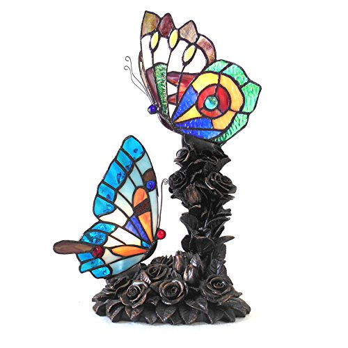 "Chloe Lighting CH15805BA17-TL2 10"" Wide Edith 2 Tiffany-Style 2 Light Butterfly Table Lamp"