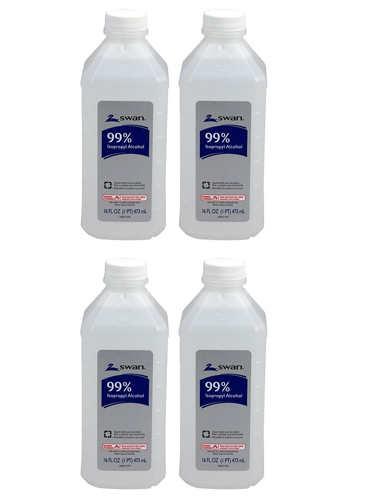 Swan Isopropyl lrMRa Alcohol, 99%, Pint, 16 Oz (4 Pack)