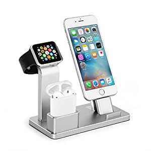 Phone Charging Stand, Moreslan Charging Station Aluminum Airpods Charging Docks iPad Functional Stand for iPhone AirPods iWatch Series 2 / Series 1 / iPhone 8 / iPhone 7 / Plus/iPhone 8 / iPhone 6/6