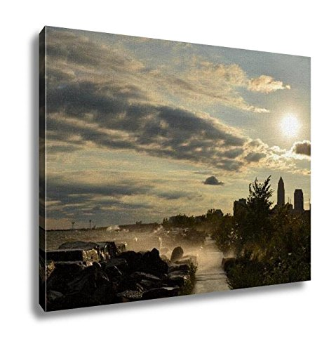 Ashley Canvas, Breaking Waves On Edgewater Beach With Cleveland Skyline, Kitchen Bedroom Dining Living Room Art, 24x30, AG6363121 (Edgewater Dining)