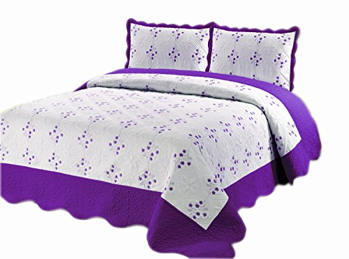 Infinite Fashion Reversible Embroidery Quilt Set, Queen, Purple, 3 Piece