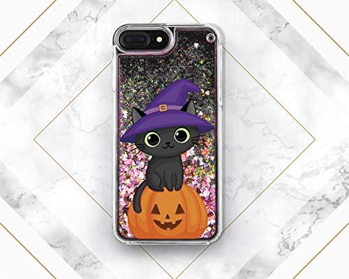 (Cute Black Cat Halloween Pumpkin Liquid Glitter Case Cover Back For Phone Samsung Galaxy S6 S7 S8 S9 Plus For Apple iPhone 5 5s SE 5c 6 6s 7 8)