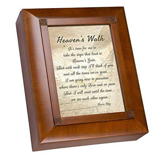 Cottage Garden Heaven's Walk Bereavement in Memory Woodgrain Rememberance Keepsake Box ()