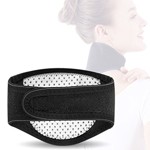 Magnetic Therapy Neck - 7TECH Heating Neck Brace 1 Pack Soft Cervical Support Collar Magnetic Therapy Belt Support Flexible Self Heating for Pain Relief