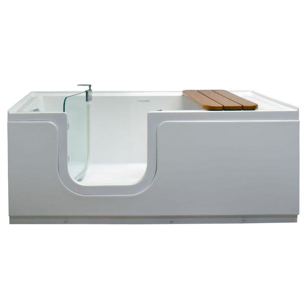Freestanding Step-In Bathtub 5ft. with Waterproof Tempered Glass Tub Door and Bench in White Left Drain