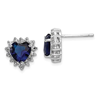 50abc9032 Amazon.com: 925 Sterling Silver Dark Blue Clear Cubic Zirconia Cz Heart  Post Stud Earrings Ball Button Love Fine Jewelry Gifts For Women For Her:  Stud ...