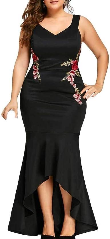 OPAKY Vestido de Fiesta Bordado con Tallas Grandes para Mujer ...