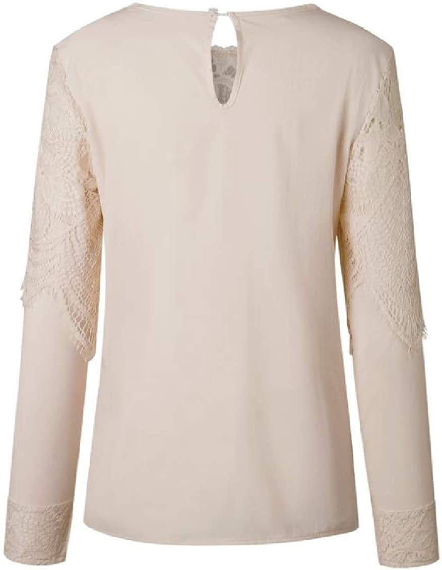 Sweatwater Womens Lace Long Sleeve Pure Color Top Tees Crew-Neck Vogue T-Shirts
