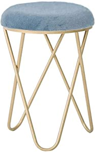HTL Practical Shoe Stool Ottoman Upholstered for Dressing Table | Makeup Stool Velvet Footstools with Gold Frame | Foot Stool Chair Rest for Living Room Office Bedroom (32X47Cm),Blue