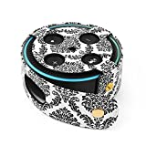 TNP Protective Case for Amazon Echo Dot (Fits all-new Echo Dot 2nd Generation Only) - Premium Vegan Leather Cover Sleeve Skin (Damask Black)