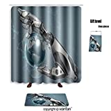 robotic human arm - vanfan bath sets with Polyester rugs and shower curtain robotic arm holding earth globe with mechanic shower curtains sets bathroom 48 x 72 inches&23.6 x 15.7 (Free 1 towel and 12 hooks)