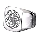 Men's Silver Stainless Steel Vintage Three Heads Dragons Heads Punk Rock Ring