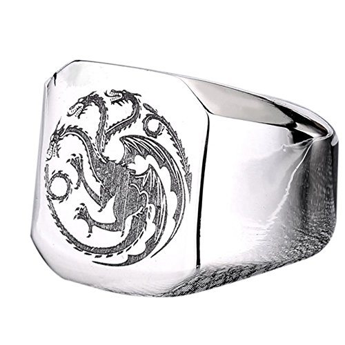 Dragon Solid Ring (Men's Silver Stainless Steel Vintage Three Heads Dragons Heads Punk Rock Ring)