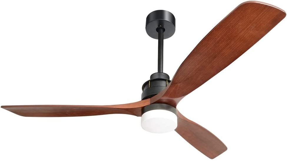 """Sofucor Smart Ceiling Fan with Three 60"""" Walnut Solid wood blades, Oil Rubbed Bronze Finish, remote controlled and three-colors dimming LED light. Easy to switch Summer and Winter modes. Noiseless."""
