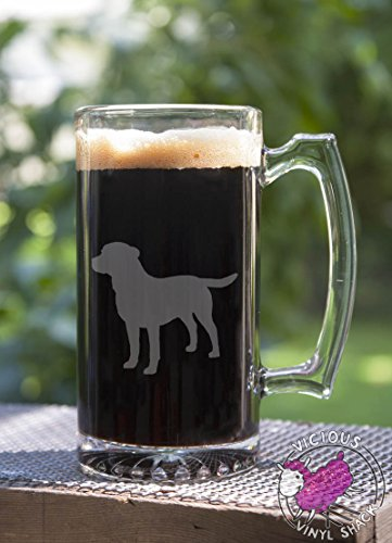 Labrador Retriever Silhouette 24 oz Etched Glass Stein Beer Mug with Handle Dog Beer Puppy Lab Adopt Rescue Love Family Paw Pets Wolf Portuguese Water
