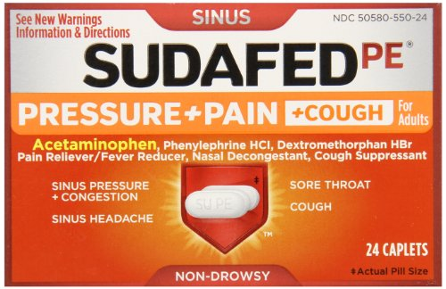 Sudafed PE Pressure + Pain + Cough, 24 Count (Pack of 72) by Sudafed
