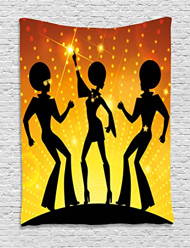 Ambesonne 70s Party Tapestry, Dancing People in Disco Night Club with Afro Hair Style Bokeh Backdrop, Wall Hanging for Bedroom Living Room Dorm, 40 W X 60 L Inches, Orange Yellow -