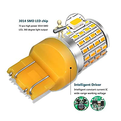Phinlion 7443 Amber LED Turn Signal Light Bulbs Super Bright 2000 Lumens 3014 72-SMD T20 7440 7444 LED Bulb for Turn Signal Blinker Light: Automotive