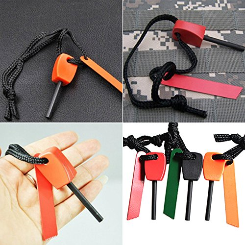 Bluelans 3 x Fire Starter Steel Flint & Striker Survival Tool Kit Outdoor Camping Living Survival Tool (Random Colour)