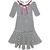 Sunny Fashion KL24 Girls Dress Striped School Bow Tie Jumper Size 8