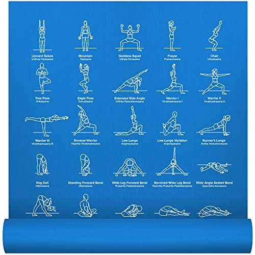 "NewMe Fitness Instructional Yoga Mat, Blue, Printed w/ 70 Illustrated Poses, 24"" Wide x 68"" Long, for Women & Men : Non Slip, Eco Friendly PVC, Non Toxic : for Home or Gym : 5mm Thick"