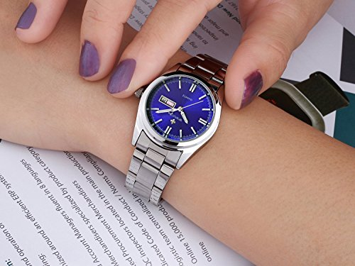 WWOOR Women Date Day Clock Female Stainless Steel Watch Ladies Fashion Casual Wrist Watches