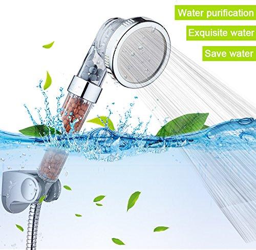 Austor Ionic filtre Handheld Pomme de douche Douchette /à main avec 3 voies Lot de 3 suppl/émentaires de remplacement Ion min/éral Balles