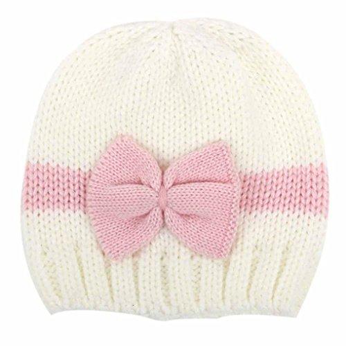 Baby Hat,Leegor Newborn Infant Knitting Rosette Wool Crochet Hat Soft Cap (White)