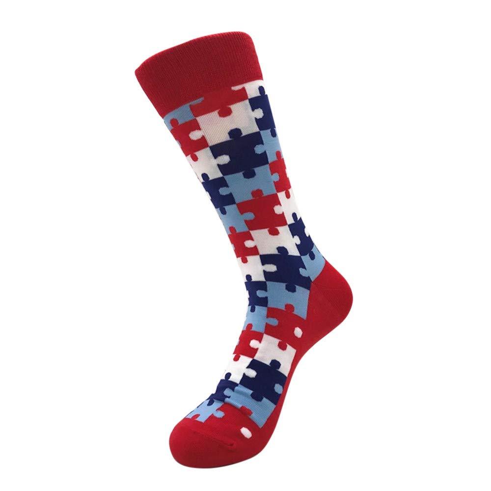 Fashion Color Spliced Pattern Novelty Men's Mid Calf Socks for Football, Running, Riding,Travel (D)