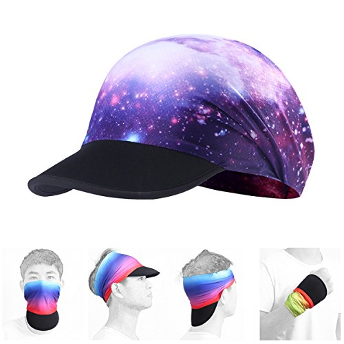 AXBXCX Soft Brim Sun Visor Cap Yoga Headband Women Headwrap with UV Sun Protective for Fishing Motorcycling Hunting Airsoftball Running Hiking Galaxy 39