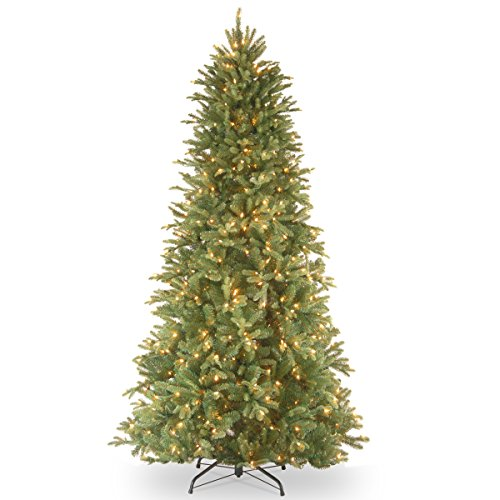 """National Tree 6.5 Foot """"Feel-Real"""" Tiffany Fir Slim Tree with 500 Clear Lights, Hinged (PETF3-304-65)"""