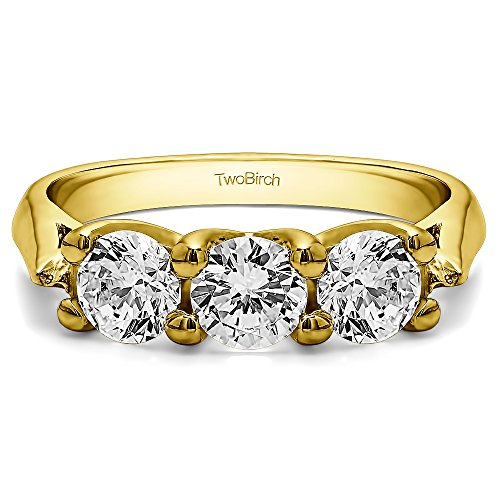 18K Yellow Gold White Sapphire .99 CT Three Stone Trellis Ring (Size 3 To 15 1/4 Size Interval)