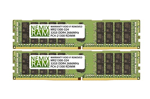 - 64GB (2x32GB) DDR4-2666MHz PC4-21300 ECC RDIMM 2Rx4 1.2V Registered Memory for Server/Workstation