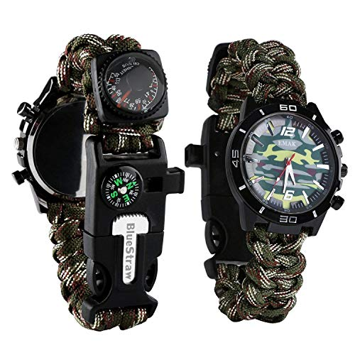 Survival Bracelet Watch, Men/Women Waterproof Emergency Survival Watch with Paracord Whistle Fire Starter Scraper Compass and Thermometer, 6 in 1 Multifunctional Outdoor Gear (CamouflageGreen) (Camo Paracord Bracelet)