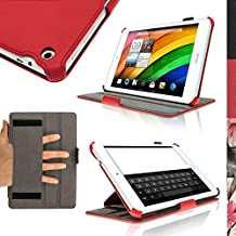 """iGadgitz Premium Executive Red PU Leather Case Cover for Acer Iconia 7.9"""" A1-830 with Hand Strap + Multi-Angle Viewing Stand + Screen Protector"""