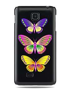 "GRÜV Premium Case - ""Beautiful, Colorful Butterflies"" Design - Best Quality Designer Print on Black Hard Cover - for LG Optimus F5 P875"