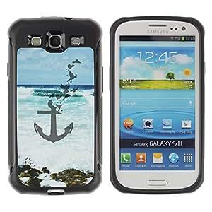 KROKK CASE Samsung Galaxy S3 I9300 - anchor blue sea waves art beach - Rugged Armor Slim Protection Case Cover Shell