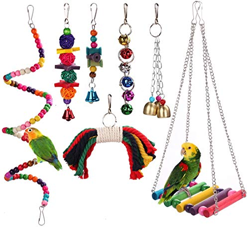 HAPPYTOY Bird Parrot Toys Play Set for Bird Cage, Colorful Chewing Hanging Swing Toy Bells, Ladder Swing for Small…