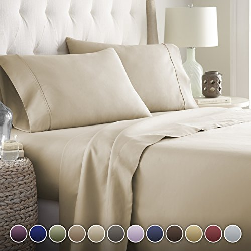 HC COLLECTION Hotel Luxury Bed Sheets Set-ON SALE TODAY! On Amazon-Top Quality Softest Bedding 1800 Series Platinum Collection-100%!Deep Pocket,Wrinkle & Fade Resistant (Full,Taupe)