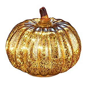denlix Mercury Glass Pumpkins Lights, 5.5 Inches Decorative Pumpkin Decor, Battery Operated with Timer, Fall Autumn Tables Centerpieces Decoration for Home