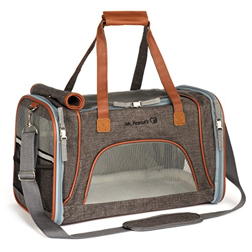Clasp Including (Mr. Peanut's Airline Approved Soft Sided Pet Carrier, Low Profile Travel Tote with Fleece Bedding, Premium Zippers & Metal Safety Clasp, Under Seat Compatibility, Perfect for Cats and Small Dogs)