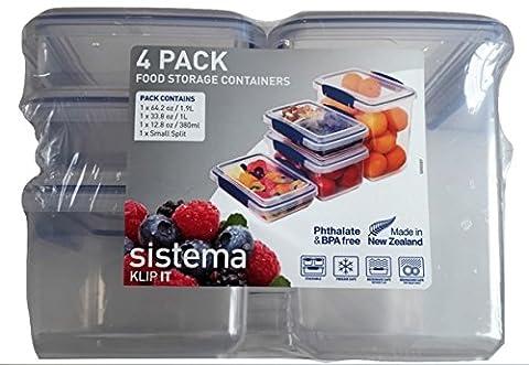 Sistema Klip It 4 Pack Food Storage Container Set of 4 (Blue) (Sistema Klip It Split)