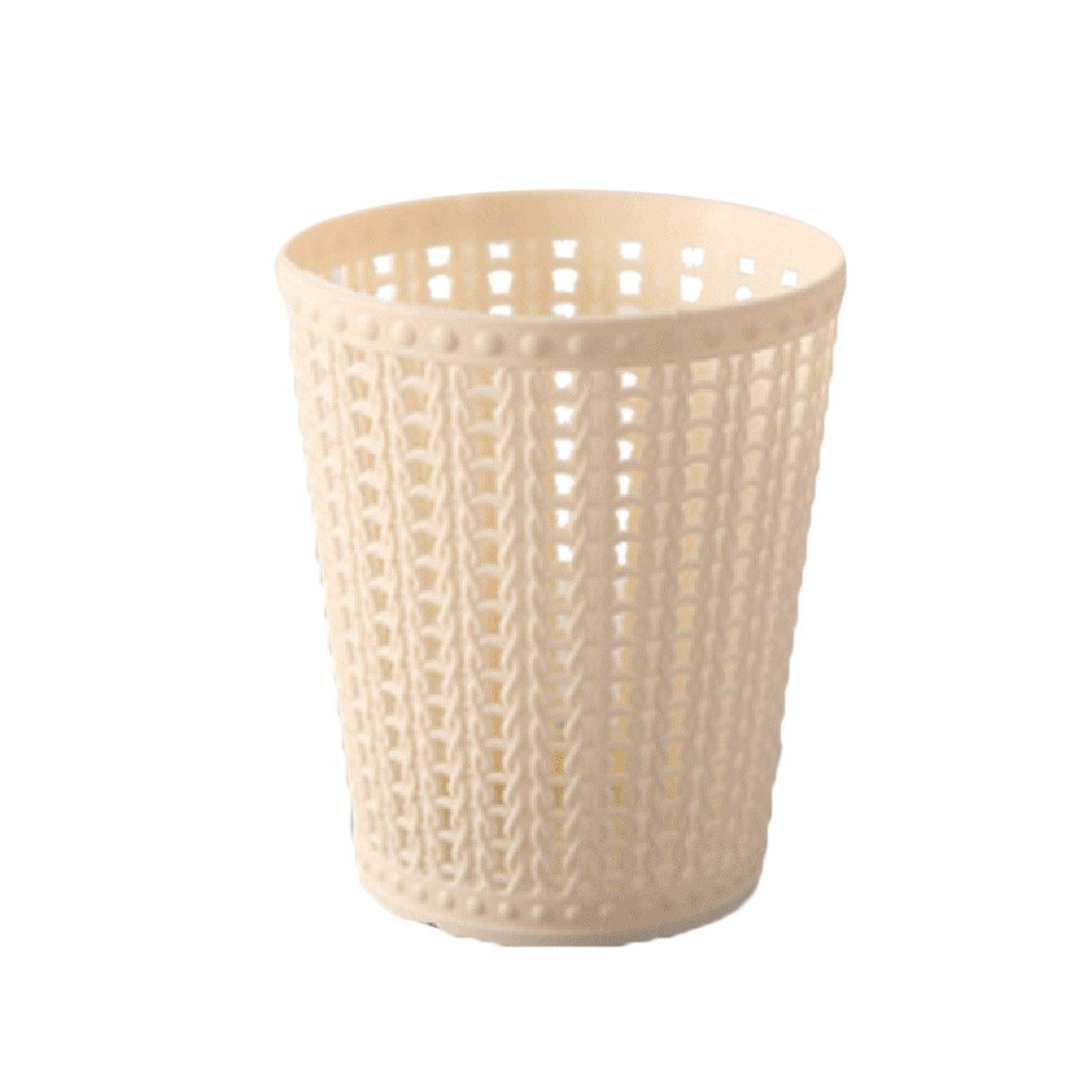 Amiley Mini Mesh Plastic Small Trash Can Wastebasket, Garbage Container Bin for Bathrooms, Kitchens, Home Offices, Dorm Rooms - Pink,Green,Blue,Beige (Beige)