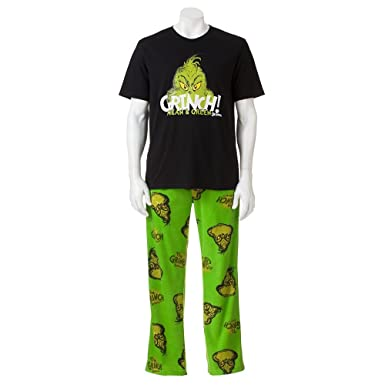 690764b23847 Dr. Seuss The Grinch Men s Pajama Set (Medium) at Amazon Men s ...