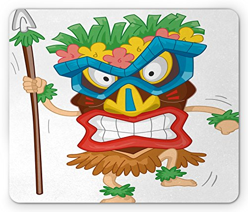 Native Tiki Mask (Tiki Bar Mouse Pad by Ambesonne, Native Man Wearing a Mask Illustration Cartoon Tribal Costume Primitive Ritual, Standard Size Rectangle Non-Slip Rubber Mousepad, Multicolor)