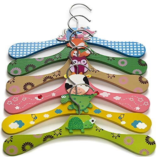 Booba Baby Kids and Baby Wooden Colorful Animal Shaped Clothes Hangers. 6 Pcs Set (Animal Hangers)