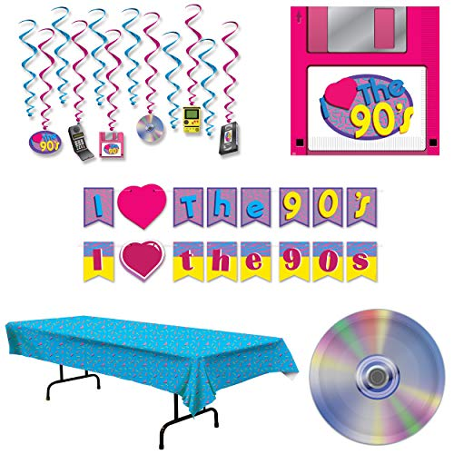 90s Party Supplies Decorations, Hip Hop Themed, 16 Guests: Plates, Napkins, Table Cover, Whirls, Streamer Banners, Wildflower Party Planner]()